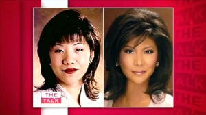 Julie Chen in 1995 before plastic surgery (left), and Chen's current news head shot.