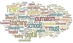 "The Knight Foundation is one of the groups advocating for the ""teaching hospital"" model.  This graphic from their website illustrates the complexity of the field of journalism."