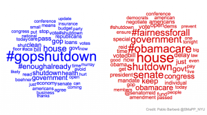 A group at New York University gathered 1,200 tweets from members of congress over a 24 hour span, Democrats in blue, Republicans in red. The bigger the word, the more often it was tweeted.
