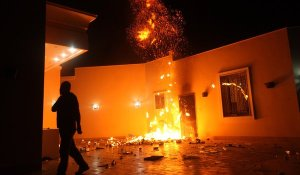 Flames burn in the aftermath of the 2012 terrorist attack on the U.S. Consulate in Benghazi, Libya.